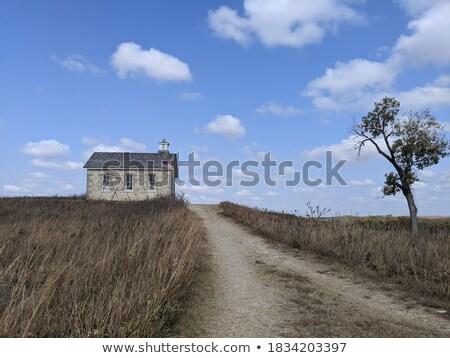 préri · út · iskola · ház · Saskatchewan · Kanada - stock fotó © pictureguy