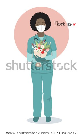 vrouwelijke · gezondheidszorg · werknemer · glimlachend · geïsoleerd · witte - stockfoto © Nobilior