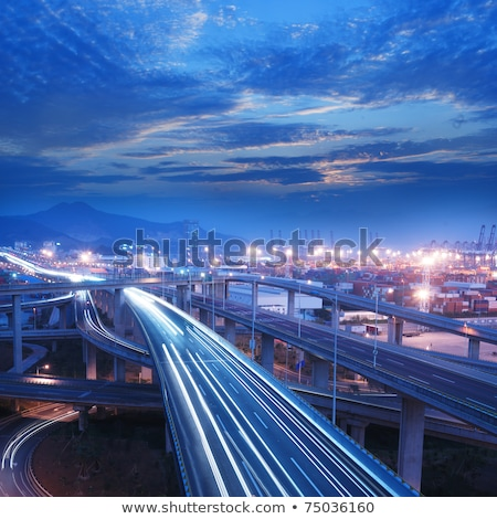 Overpass at night through the port  Stock photo © cozyta