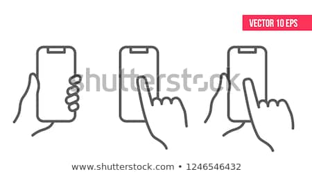 smartphones with hands vector icon set stock photo © beaubelle