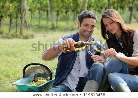 Zdjęcia stock: Couple Tasting Wine In Field