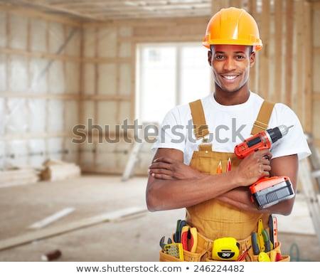 afroamerikai · férfi · építőmunkás · fekete · afroamerikai · férfi · állás - stock fotó © piedmontphoto