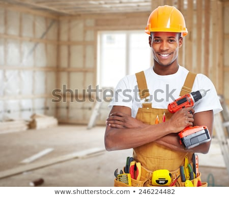 Zwarte man bouwvakker zwarte afro-amerikaanse man baan Stockfoto © piedmontphoto