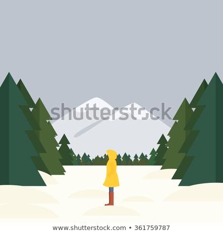 少女 立って 森林 赤 スカーフ 草 ストックフォト © Aliftin
