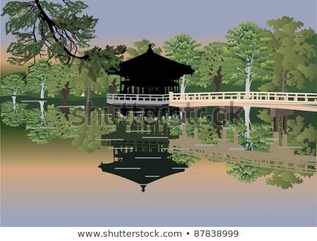 arany · kínai · kert · víz · tájkép · híd - stock fotó © kawing921