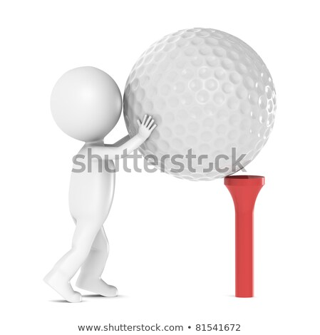 3d little human character and a golf ball and tee stock photo © johanh