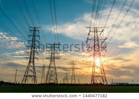 Kule gün batımı gökyüzü Bina ağ Stok fotoğraf © ryhor