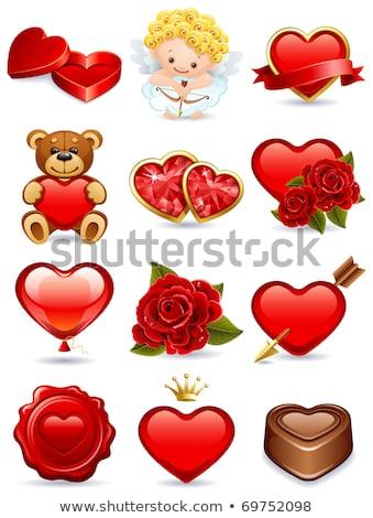 Rubin szív arany nyíl szeretet piros Stock fotó © carodi
