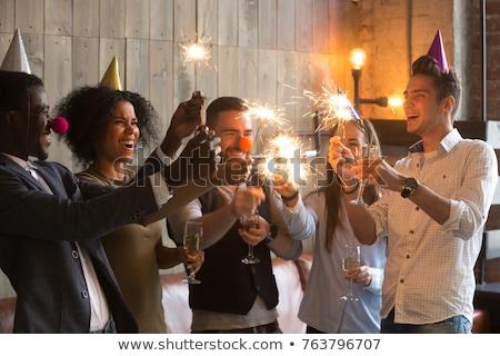 zakenlieden · vieren · christmas · toast · vergadering · tabel - stockfoto © ambro
