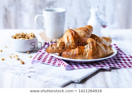 Foto stock: Traditional French Breakfast On Table In Morning