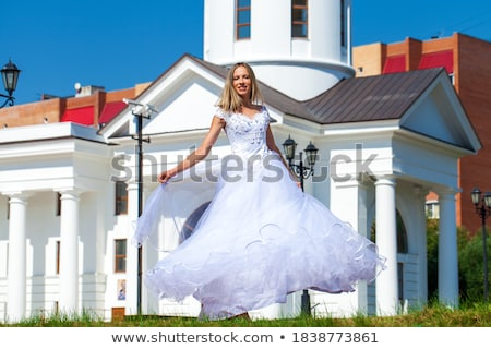Aristocratic graceful female posing in fashion dress Stock photo © gromovataya