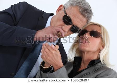 érett úriember dohányzás szivar szőke nő házastárs Stock fotó © photography33