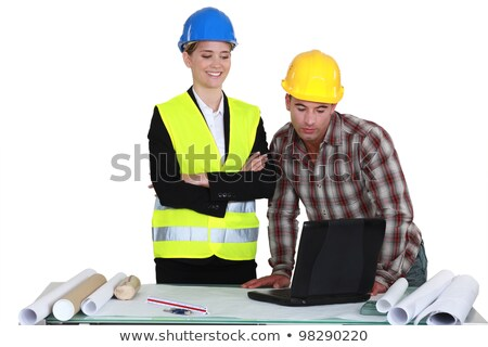 businesswoman and craftsman examining a project Stock photo © photography33