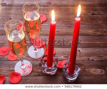 dwa · szampana · okulary · czerwony · christmas · śniegu - zdjęcia stock © karandaev