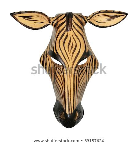 Zebralar Afrika maskeler örnek Afrika harita Stok fotoğraf © dayzeren
