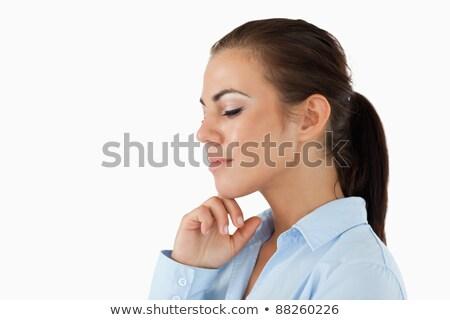 Stock fotó: Oldalnézet · üzletasszony · csukott · szemmel · fehér · üzlet · boldog