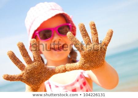 gyermek · homok · kéz · tengerpart · anya · fiú - stock fotó © ElinaManninen