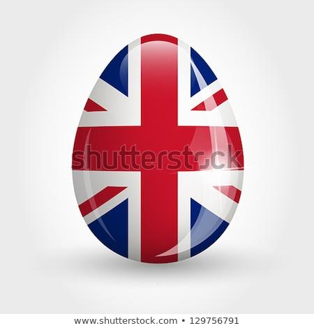 Brit zászló húsvéti tojás csíkos rajz ünnep húsvét Stock fotó © marinini