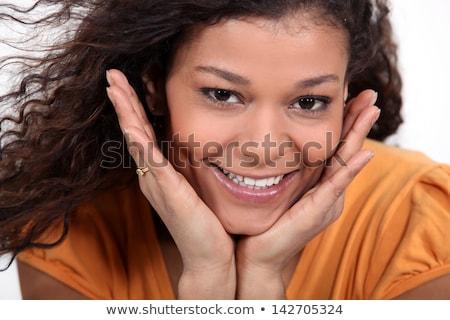Morena mãos bochechas menina cara olhos Foto stock © photography33