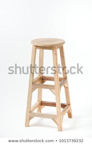 Top hout kruk geïsoleerd witte ontwerp Stockfoto © ozaiachin