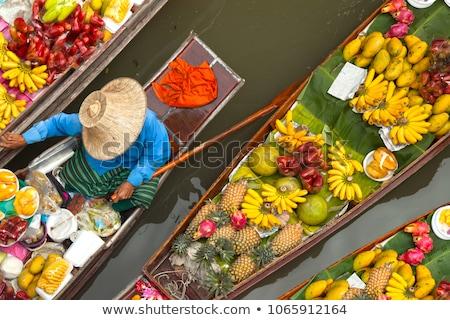 Flutuante mercado noite negócio pôr do sol barco Foto stock © Witthaya