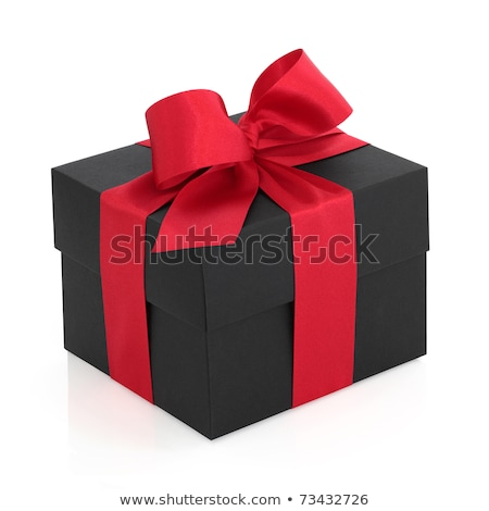 black gift boxe with red satin ribbons and bows over black satin stock photo © ozaiachin