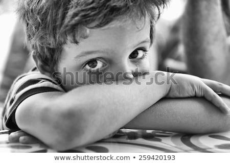 小 悲しい 少年 肖像 黒 小さな ストックフォト © dacasdo