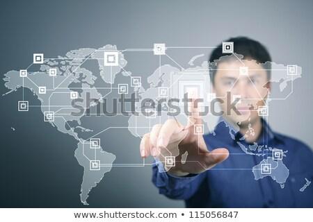 empresária · tocante · rede · social · ícones · virtual · exibir - foto stock © HASLOO