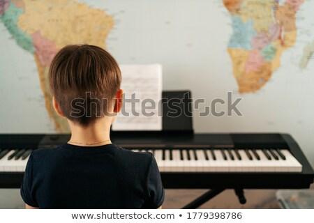 zongora · billentyűk · elektronikus · billentyűzet · hangszer · hangszer · közelkép - stock fotó © teamc