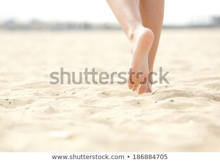 Mezítláb homokos tengerpart illusztráció fut barátok nyár Stock fotó © lenm