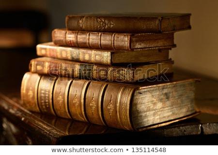 köteg · öreg · könyvek · nyitva · egy · fából · készült - stock fotó © stocksnapper
