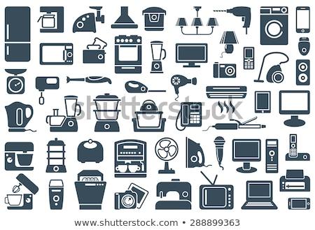 Domestique appareil icônes télévision mixeur brosse à dents Photo stock © carbouval