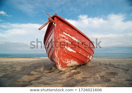 kırmızı · tekne · küçük · köy · yeni · okyanus - stok fotoğraf © vlad_podkhlebnik