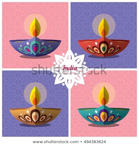 Güzel artistik diwali ayarlamak renkli vektör Stok fotoğraf © bharat