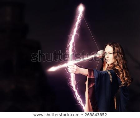 Krijger vrouw zwaard meisje vliegen Stockfoto © LVJONOK