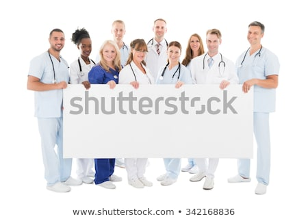 portrait of young doctor holding banner stock photo © andreypopov