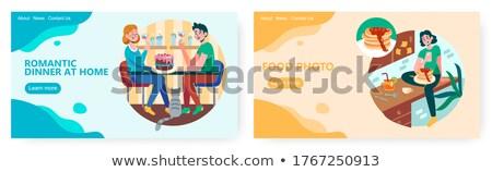 Mensen diner restaurant pannenkoeken vrienden paar Stockfoto © Kzenon