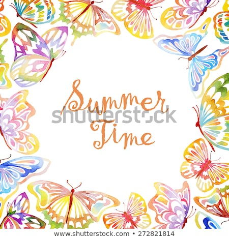 summer watercolor frame with butterflies stock photo © gladiolus