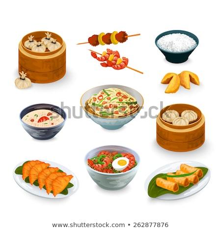 Kínai étel sült torták kínai fehér tányér Stock fotó © bbbar