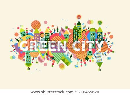 Yeşil şehir renk siluet çiçekler Stok fotoğraf © janhyrman