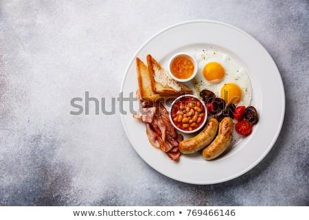 Plein déjeuner café jus orange croissant Photo stock © Tagore75