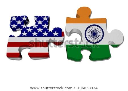 USA · India · zászlók · puzzle · izolált · fehér - stock fotó © istanbul2009