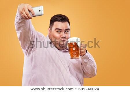 Bêbado gordura cerveja vetor desenho animado ilustração Foto stock © orensila