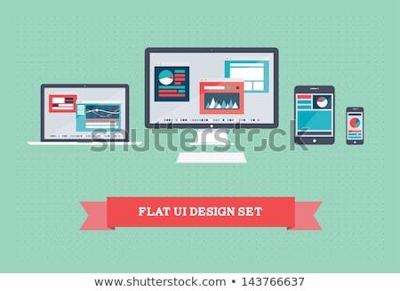 Ayarlamak bilgisayar monitörü göstermek bilgisayar dizayn teknoloji Stok fotoğraf © leonido