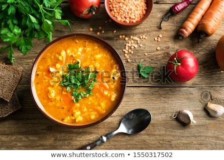 Soczewica czerwony gotowany warzyw czarny Zdjęcia stock © zia_shusha
