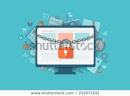 заблокированный ноутбука изолированный белый интернет технологий Сток-фото © gemenacom