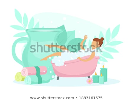 Lány habfürdő közelkép portré fürdőszoba női Stock fotó © gemenacom