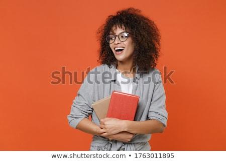 diák · póló · tart · könyv · kék · kezek - stock fotó © feelphotoart
