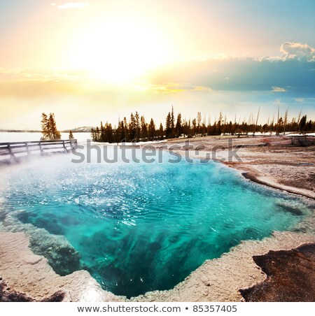 Limestone Terraces at a Hot Spring Stock photo © wildnerdpix