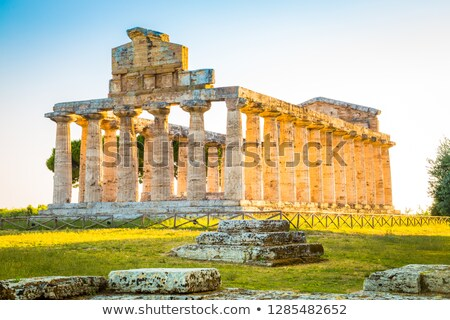 classical greek temple at ruins of ancient city paestum italy stock photo © meinzahn